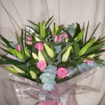 Aqua Bouquet of Lillies and Roses
