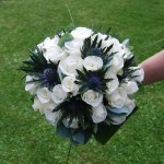 Brides Hand Tied Bouquet, Roses and Thistles