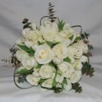 Brides Hand Tied Bouquet of White Tulips and Roses