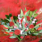 Christmas Hand Tied Tulips Berries and Cones