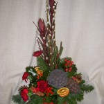 Christmas Arrangement in Red Square Dish