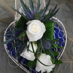 Heart Mesh Silver Bag, Thistles and Roses