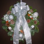 Spruce Door Wreath Whites and Silvers