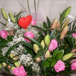 Hand Tied Pink Roses and Oriental Lillies