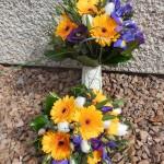 Spring flower bridal bouquets - Germini, Iris, Tulips, Eustoma & Eucalyptus